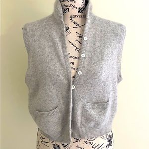 Vintage Evan Picone Cropped Wool Vest Light Grey